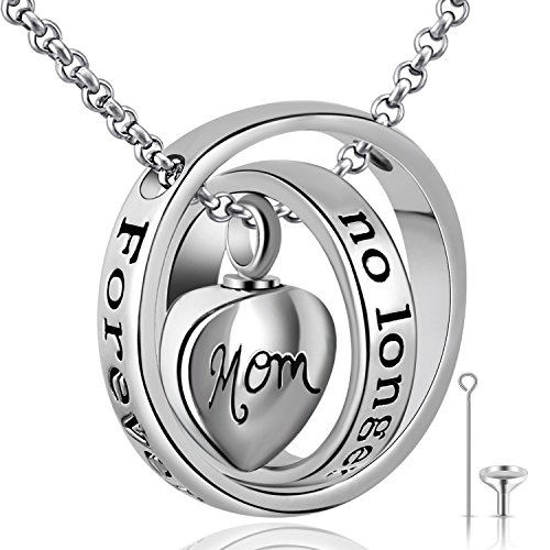 YOUFENG Urn Necklaces for Ashes No Longer by My Side Forever in My Heart Mom Dad Cremation Urn Locket Jewelry (MOM urn Necklace)