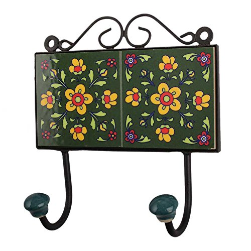 - Indianshelf Handmade 2 Artistic Vintage Tile Green Ceramic Floral Clothes Hooks Hangers/Key Hooks for Purse