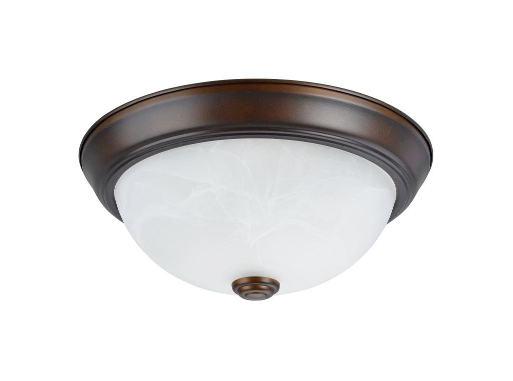 Aspen Creative 63013-2 Two-Light Flush Mount In Bronze with White Alabaster Glass Shade