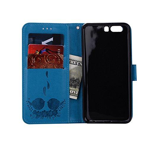 de exquis carte blue cuir P10 motifs étui relief de protection Huawei téléphone PU pour fente avec magnétique cas avec fermeture support Hozor Wallet Flip en vBTx8c