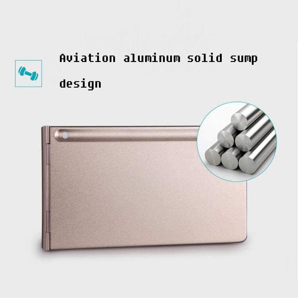 Gold Folding Keyboard Metal Wireless Office with Silent Ultra-Thin Portable Multi-Device Universal Compact Intelligent