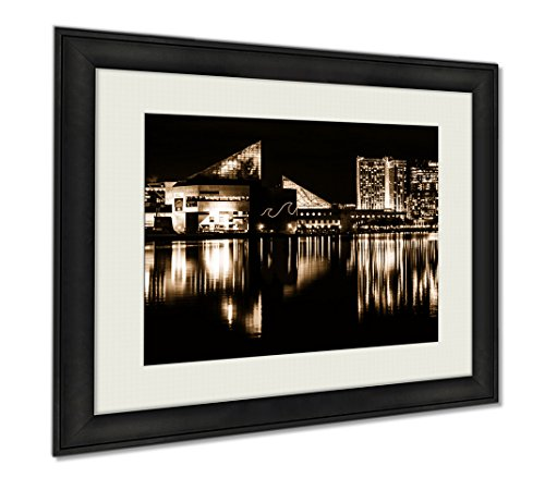 Ashley Framed Prints The Legg Mason Building And National Aquarium At Night In The I  Wall Art Home Decoration  Sepia  34X40  Frame Size   Ag5645470