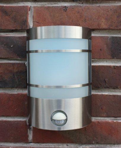 Edelstahl Wand-Außenleuchte Außenlampe Wandlampe Wandleuchte Hoflampe Hofleuchte Gartenlampe Gartenleuchte Eingangsbeleuchtung mit IF Infrarot Bewegungsmelder , Echtglas und LED Energiesparlampe 7 Watt Fachhandel-Plus