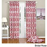 BNF Home Honor Printed Curtain and Pillow Set, 70″ x 84″, Bridal Rose