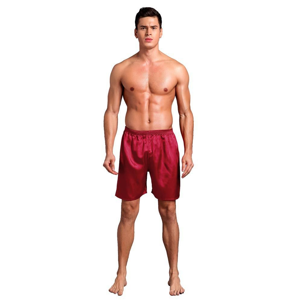 Bornbayb Men's Solid Silk Satin Boxers Shorts Beach Shorts Loose Pajama Short Pants
