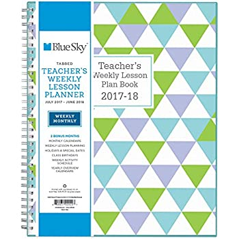 """Blue Sky 2017-2018 Academic Year Teachers Plan Book, Twin-Wire Bound, Geo Cover, 8.5"""" x 11"""""""