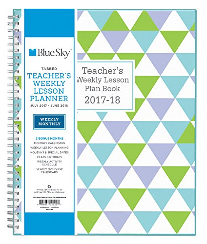 Blue Sky 2017-2018 Academic Year Teachers Plan Book, Twin-Wire Bound, Geo Cover, 8.5' x 11'