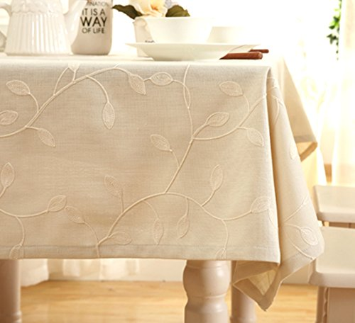 "Tina Cotton Linen Tablecloth Leaf Embroidered Table Cover for Dinner Kitchen Beige, 52""x70"""