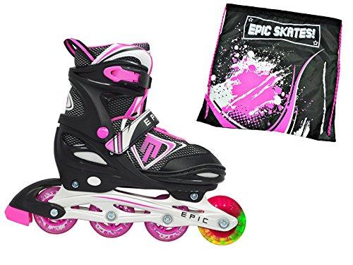 テキストフリース上院Epic Furyブラック&ピンク調整可能LEDライトUp Inline Skates + Matching Epic巾着バッグ。 Adult 5-8 Fury