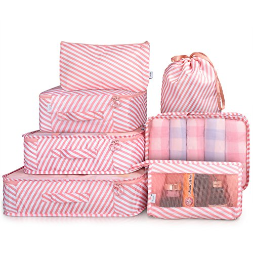 Packing Cubes 7 Pcs Travel Luggage Packing Organizers Set with Toiletry Bag (Pink stripe)