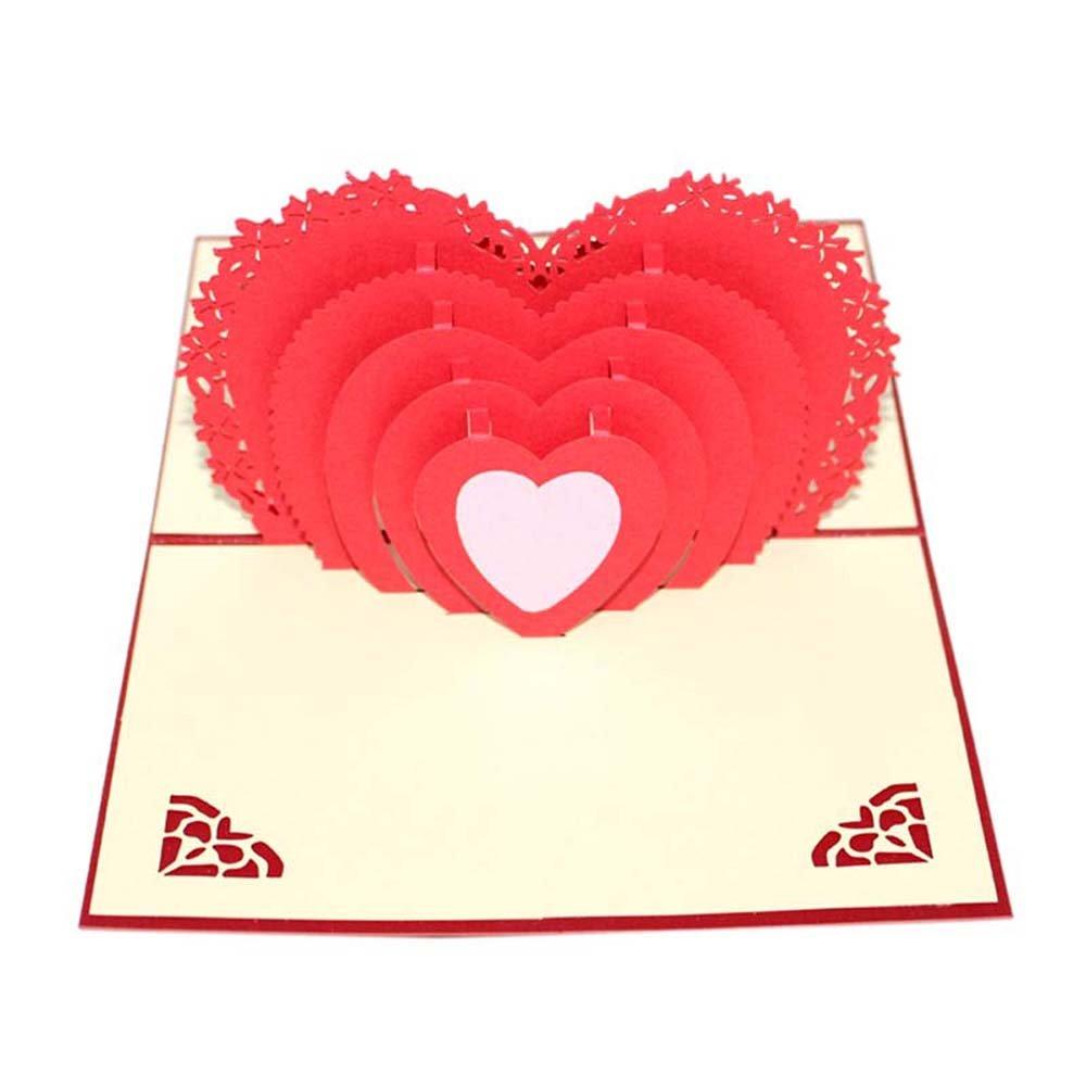 RainBabe 3D Pop Up Carte de Voeux Forme de Cœur Papier Craft pour Anniversaire Invitation Félicitation Cadeau LING
