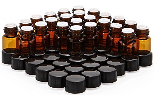 Vivaplex B2-OR24 Glass Bottles with Orifice Reducers and Black Caps, 2 ml Capacity, Amber (Pack of 24)