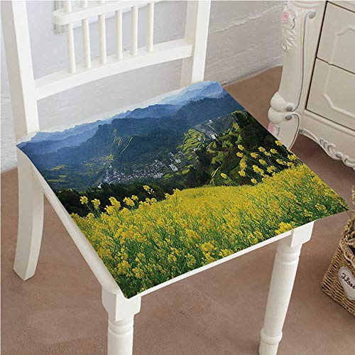Over Woven Futon Chair Cover - Chair Pads Classic Design Decor Flower Meadow Over The Village Mountains in a Row Grass Fresh Field Cotton Canvas Futon 22