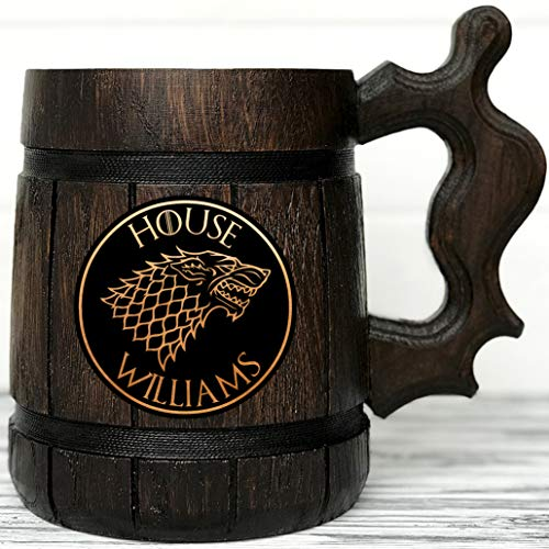 - Game of Thrones Gifts/GoT/House Stark/Personalized Game of Thrones Gift/Winter is Coming/Engraved Mug Personal Gifts for Men/Beer Tankard, Christmas gift, Birthday Gift K51