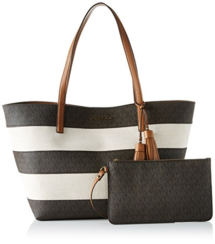 Michael Kors Stripe Canvas And Leather Tote - Bolsos totes Mujer Varios colores (Brown)