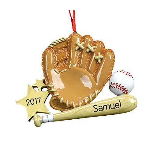 GiftsForYouNow Baseball Mitt & Bat Personalized Ornament, Resin Baseball Christmas Ornaments