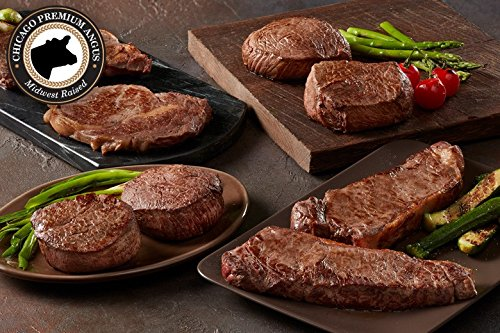Black Angus (8) Steak Combination - Chicago's Finest Filet Mignon, Boneless Strip, Sirloin, Ribeye - Chicago Steak Company Frozen Boneless Beef