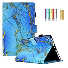 Dteck Case for Fire HD 8, Pretty Cute Folio Smart Stand Synthetic Leather Case Cover with Auto Sleep Wake for All-New Kindle Fire HD 8 (8th 7th 6th Generation - 2018 2017 and 2016)-Gold Blue Marble