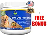 Probiotic Supplement for Dogs Elite Dog Probiotics Powder by Elite Pet Nutrition Veterinarian Recommended - Eliminates Diarrhea, Gas, All Natural Non-GMO & Gluten Free - FREE BONUS Made in the USA 8oz