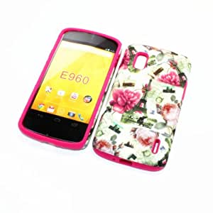 For LG Google Nexus 4/ LG E960 /Nexus 4/Optimus Nexus T-Mobile 2 in 1 Hybrid Cover Case Eiffel Tower Paris & Kinds of Flowers PC + Hot Pink Silicone