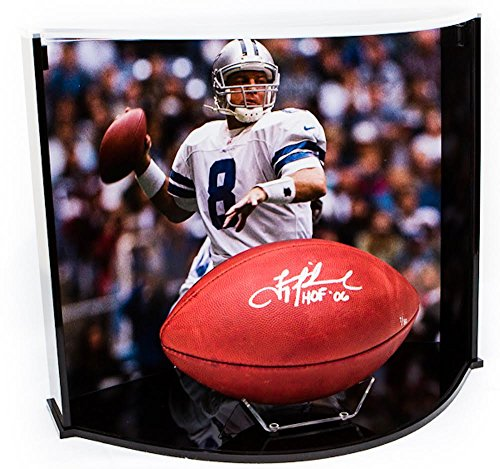 TROY AIKMAN Autographed/Inscribed NFL HOF Football Curve Display STEINER LE 80