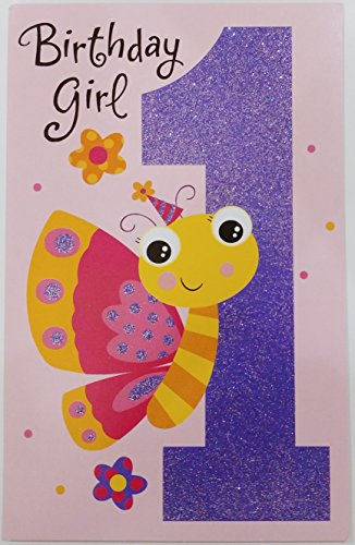 Birthday GIRL - Happy 1st Birthday Greeting Card w/ Sparkle Butterfly -