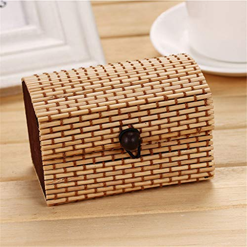 Gotian Newly Creative Bamboo Wooden Jewelry Organizer Storage Strap Craft Treasure Case, Fashion and Beautiful, for Jewelry, Necklaces, Earrings (B)