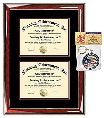 1bc1c58c983 Double Dual College Diploma Frame University Certificate Framing Wood  Glossy Prestige Mahogany Gold Accents Top matted