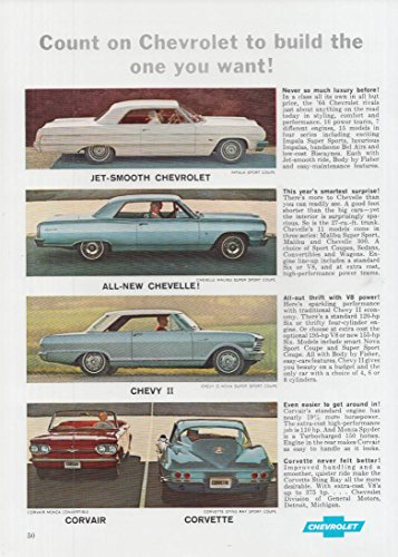 Count on Chevrolet to build Corvette Impala Chevelle Chevy II Corvair ad 1964