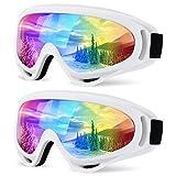 aubess Ski Goggles - Over Glasses Ski/Snowboard Goggles for Men, Women & Youth - 100% UV Protection, Wind Resistance, Anti-Glare Lenses (White/White)