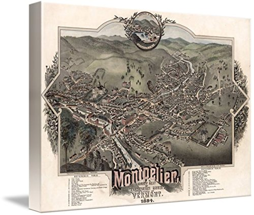 (Imagekind Wall Art Print Entitled Vintage Pictorial Map of Montpelier Vermont (1884) by Alleycatshirts @Zazzle | 10 x 7)