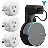 GMYLE WiFi Smart Plug Mini (3 Packs), with Outlet Wall Mount Hanger Stand Holder Bracket for Amazon Echo Dot 2nd, Remote Control Your Household Equipment from Everywhere, Compatible with Amazon Alexa
