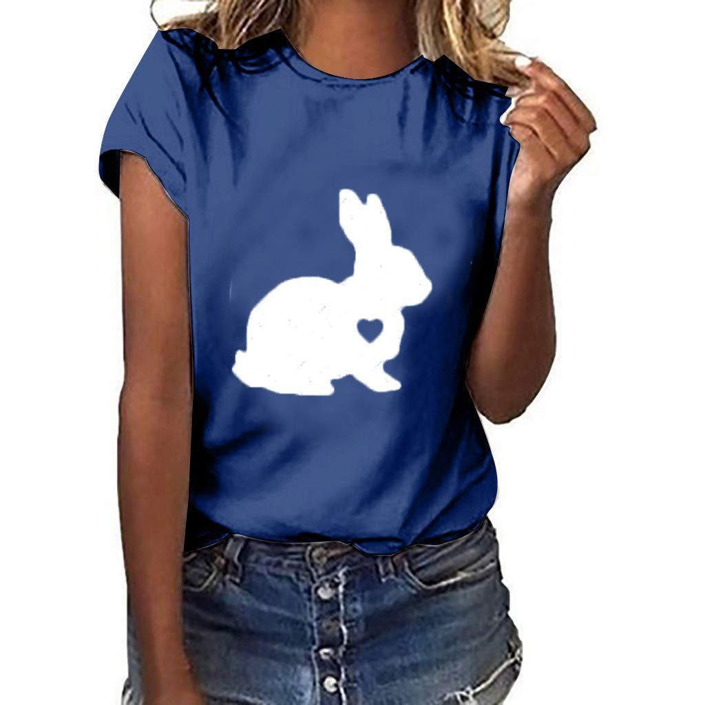 Women's Tees,Sharemen Women Plus Size Rabbit Gesture Print Short Sleeve T-Shirt Tops(Navy,M) by Sharemen T-shirt