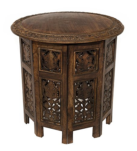 Artesia Solid Wood Hand Carved Rajasthan Folding Accent Coffee Table, 18 Inch Round Top x 18 Inch High, Brown