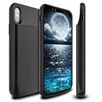 "iPhone X 10 Battery Charger Case, Newdery iPhone X 6000mAh Rechargeable Battery Charging Case with Sync Through, Portable Extended Protective Jiuce Pack Cover for iPhone X 10(5.8"") Support LightningHeadphones"
