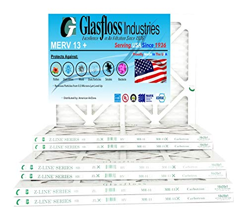 Glasfloss 16x20x1, 1 Inch MERV 13 High Efficiency Pleated AC Furnace Filter- (Pack of 6)- Proudly Made In The -