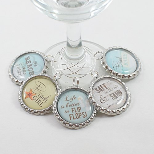 Beach Quotes Wine Charms (Set of - In Babes Glasses