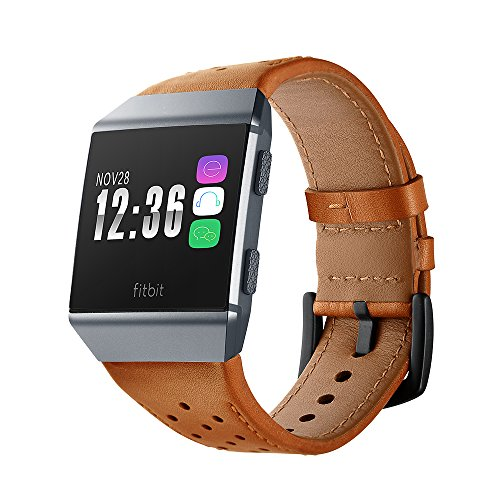 Balerion Genuine Leather Watch band for Fitbit Ionic-Brown