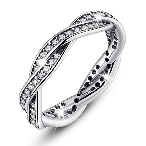 Costume Jewelry Wedding Rings (Bamoer Sterling Silver Eternity Twist Love Promise with Cubic Zirconia Stacking Jewelry Set Band Rings)