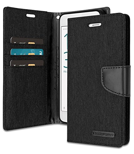 Xperia X Performance Wallet Case with Free 4 Gifts [Shockproof] GOOSPERY Canvas Diary Ver.Magnetic Card Holder with Kickstand Flip Cover for Sony XperiaXPerformance - Black, XPXPFM-CAN/GF-BLK by GOOSPERY