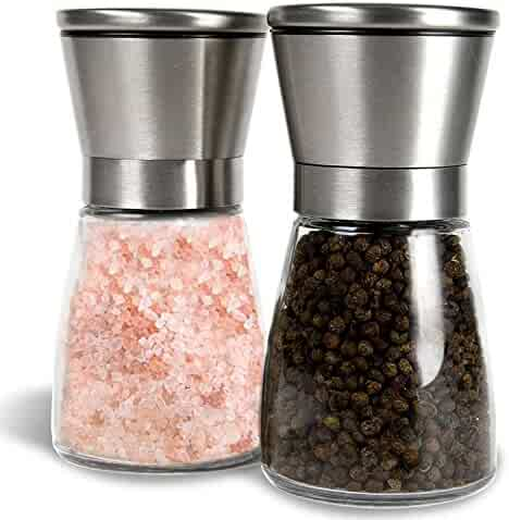 G Kitchen Premium Stainless Steel Salt & Pepper Grinder Set of 2-Pepper Mill and Salt Mill-Salt & Pepper Shaker-Ideal Gift-Spice Grinder with Adjustable Coarseness, Easy to Fill-Brushed Stainless