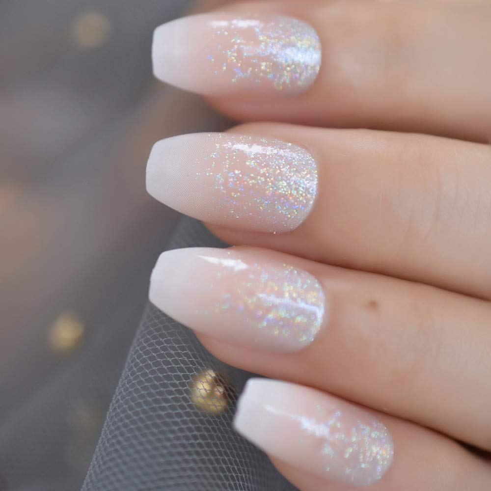 Amazon Com Coolnail Holo Glitter Pink Nude French Ballerina