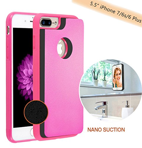 "Anti Gravity Selfie Case for iPhone 8 plus/7 plus/6 plus/6s plus (5.5 inch), Hands Free Nano Suction Stick to Glass, Tile, Car GPS, Most Smooth Surface (Pink - 5.5"")"