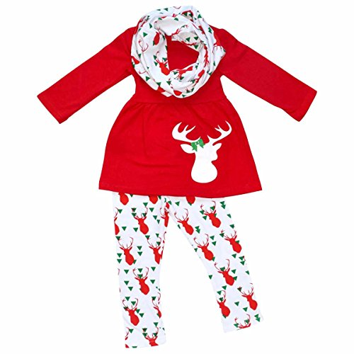 [Unique Baby Girls 3 Piece Winter Colors Christmas Reindeer Outfit (5/L, Red)] (Christmas Outfit)