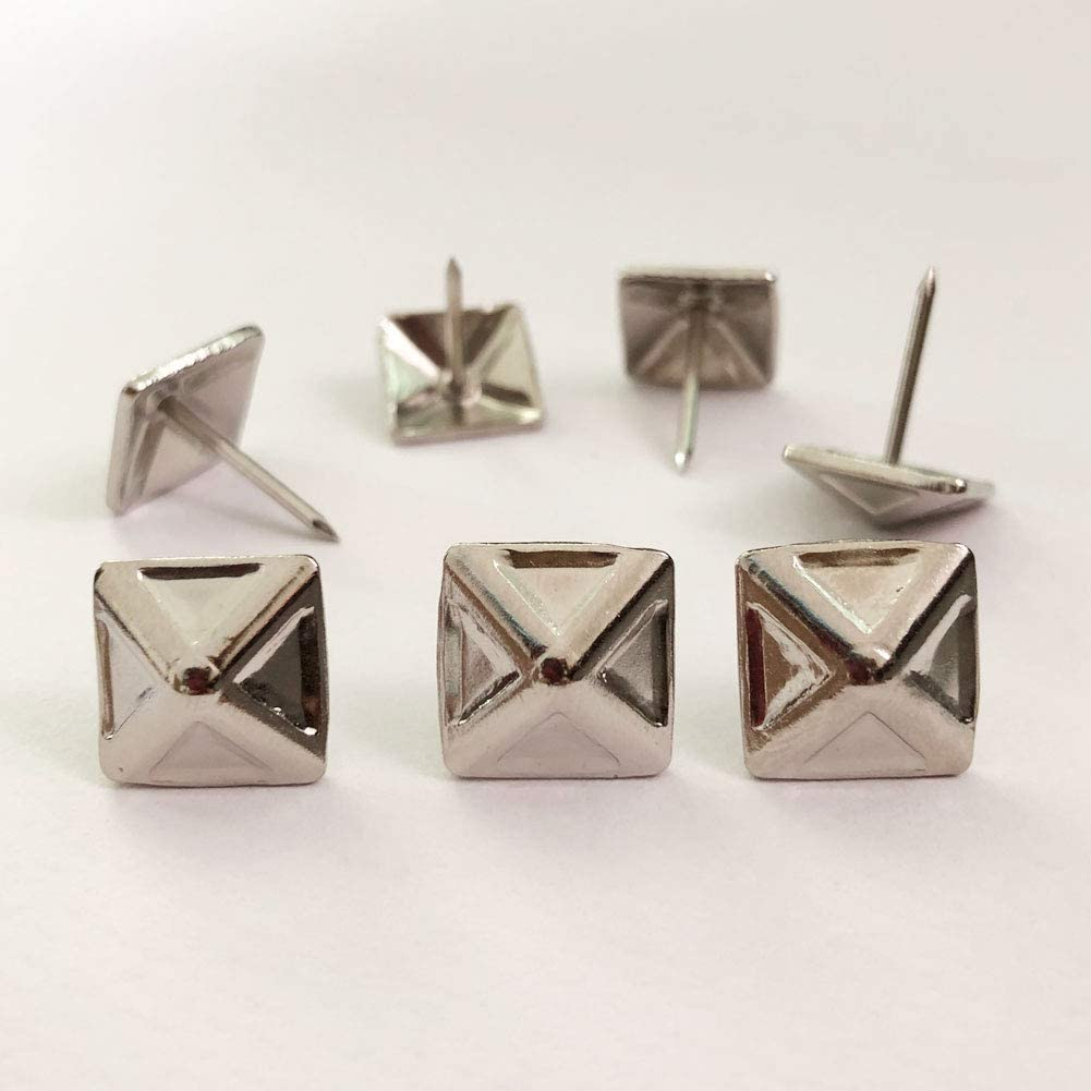 Let's Decorate 200pcs D14mmxL17mm Square Sofa Upholstery Tacks Brass Antique Bronze Color Wooden Furniture Decorative Tacks Thumb Nails Home DIY Upholstery Nails (14mmx17mm 200pcs, Nickel)