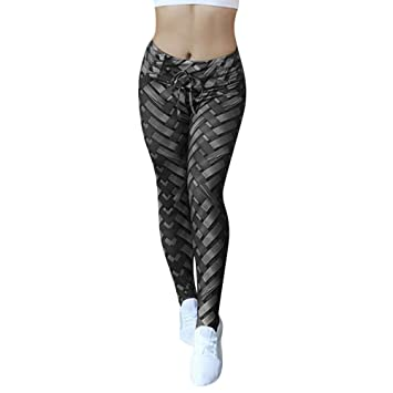 JOFOW Womens Leggings Cross Striped Weave Print Drawstring ...