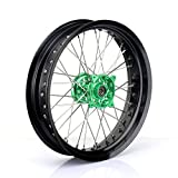 TARAZON 17 x 3.5 Supermoto Front Wheel Kit 36 Spokes Rim Green Hub for Kawasaki KX125 KX250 2006-2013 KX250F KX450F 2006-2017
