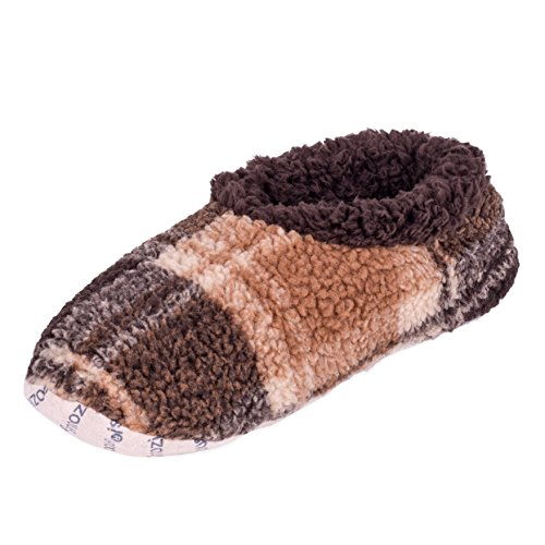 Snoozies Heren Fleece Gevoerde Antislip Slipper Sokken Kameel Plaid