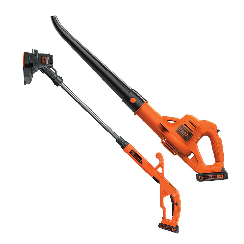 LCC221 /& LBXR2020-OPE BLACK+DECKER 20V MAX Lithium String Trimmer//Edger Plus Sweeper Combo Kit with Extra Lithium Battery 2.0 Amp Hour