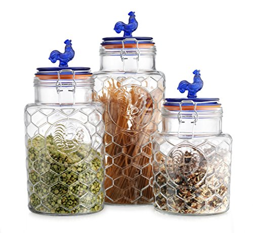Country Kitchen Rooster Canisters Set of Three (3) Round Clear Glass Hermetic Sealed Airtight with Locking Clamps ~ Kitchen Jars Set with Blue Lid Embossed Rooster ~ Food Storage Containers (Blue Top) ()